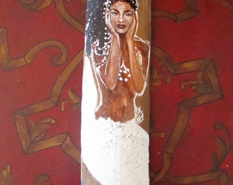 Beautiful Afro-Caribbean Mermaid white beach decor, Original wall art