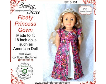Floaty Princess Gown, 18 inch doll clothes, American Girl doll clothes, Madame Alexander, 18 inch doll dress, PDF Sewing Pattern
