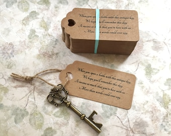 """Skeleton Key BOTTLE OPENERS + """"Poem"""" Thank-You Tags – Wedding Favors set of 100 - Ships from United States - Antique Bronze - Sofia"""