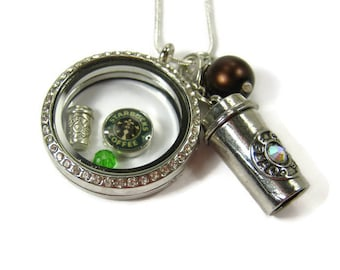 """STARBUCKS COFFEE """"To Go"""" Necklace, 925 Silver Locket, Barista, Coffee Lover, Java Nut, Connoisseur Jewelry, Gift Under 50, 3 Petunia Place"""