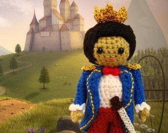 Crochet amigurumi prince pattern - Pretend play doll king  tutorial - childrens softie toy handmade boy doll plush DIY tutorial