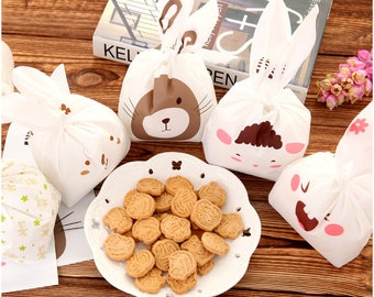 50pcs rabbit ear plastic packaging/cookie candy food/wedding party baby shower/cellophane package
