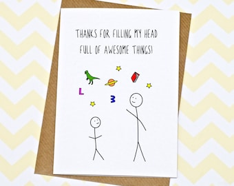 Teacher Card - Thank You Teacher Card - Thanks For Teaching Me