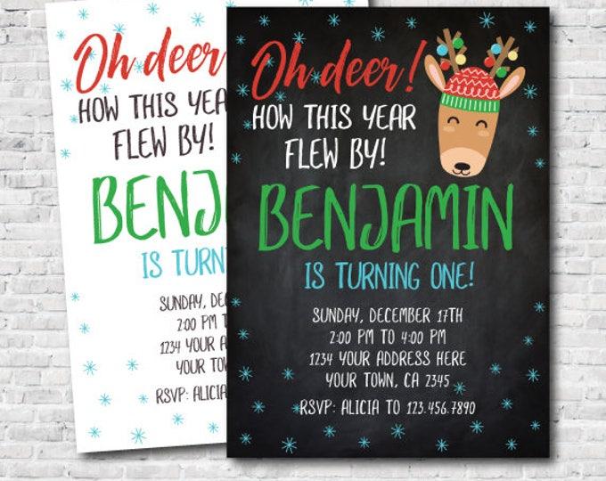 Christmas Deer Birthday Invitation, Holiday Party Invitation, Christmas Party, DIGITAL