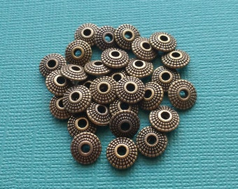 10 Spacer Beads Saucer Spacer Beads Bronze 8x4mm - B2665