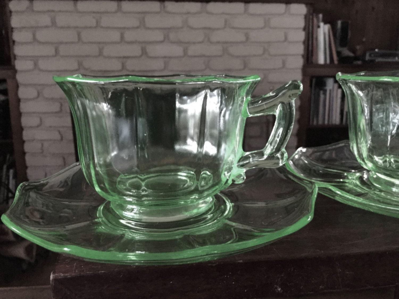 Cambridge Glass Decagon Lt Emerald Green Pattern Cup Saucer 855