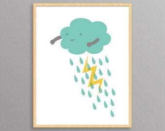 Nursery Print - Thundercloud - a modern design print // 8.5x11 or 13x19 // nursery or childrens room poster