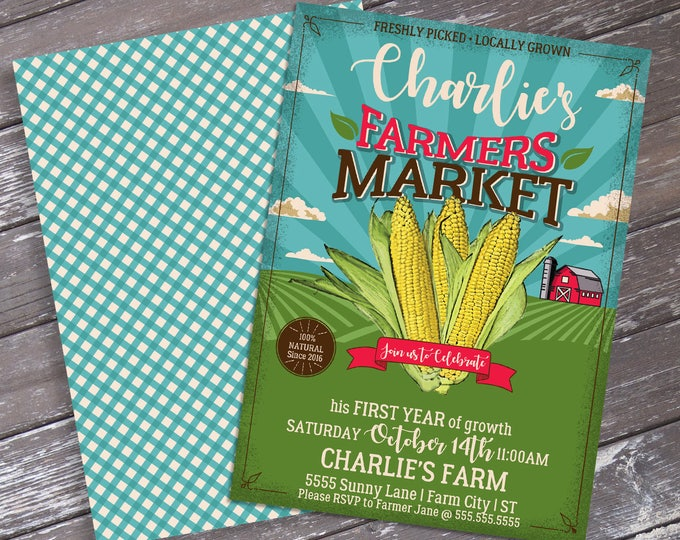 Farmers Market Party Invitation - Farmers Market Party, Corn on the Cob | Editable Text DIY INSTANT Download PDF Printable
