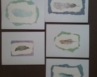 Feather watercolor cards,note cards,greeting,original,painting,bird,nest,garden,friend,gift,white,torn paper,