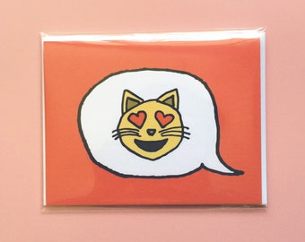 Emoji Cards! - Smiling Cat Face With Heart-Shaped Eyes