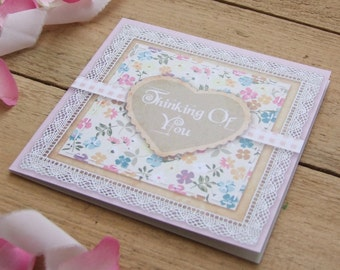 Country Garden Vintage Scrapbook Style Thinking Of You Card