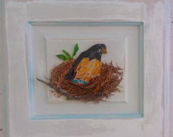 Farmhouse Style Mosaic-Robin on a Nest of Twigs