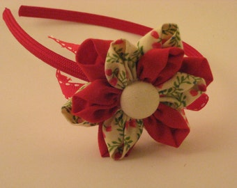 Red and green Patterned with ribbon Hairband