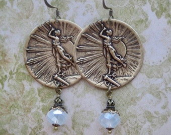 Art Nouveau Earrings - Art Nouveau Jewelry - Art Deco Earrings - Vintage Earrings - Goddess Earrings - Goddess Jewelry - Art Deco Jewelry