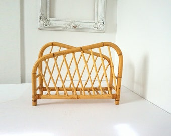 Bentwood Bamboo Rattan and Wicker Vintage Magazine Rack