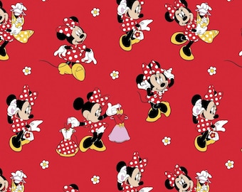 Springs Creative - Licensed Disney - Minnie Loves Dresses - Red - Fabric by the Yard 63696D650715