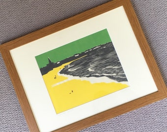 Tynemouth, Longsands beach, woodblock print