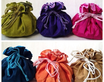 Jewelry Organiser // Travel // Storage// Silk -like Fabric Drawstring Pumpkin Pouch/Case in Pink, Orange, Purple, Lime, Blue, Beige and Gold