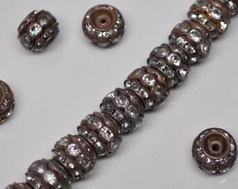 10 mm Vintage Brass Rhinestone Rondelle Beads 10 Pieces
