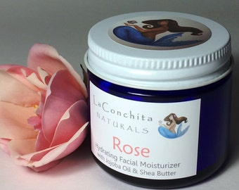 Rosewater Face Moisturizer - Natural based Skin Care for All Skin Types - 2 oz Eco-Friendly Glass Jar