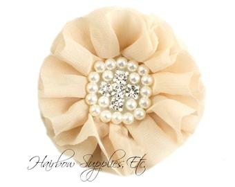 Beige Chiffon Pearl Flowers 3-1/2 inch - Beige Chiffon Trim, Beige Chiffon Flower, Pearl Embellishment, Beige Flowers, Beige Fabric Flowers