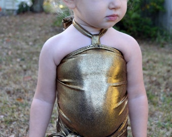 Girls Swimsuit One Wrap Baby Bathing Suit Gold/Black Wrap Around Swimsuit Newborn to 3T Toddler Body Suit Infant Swim Suit Swimming Costume