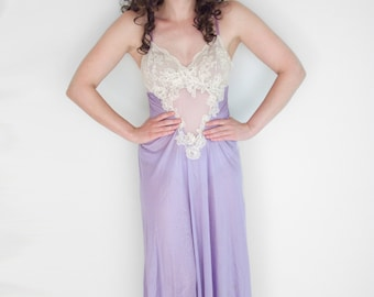 LAVENDER + Lace Negligee 80s Deep V Sheer Maxi Length Silky Nightie