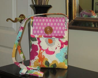 Large Teal, Gold and Raspberry Flowers on a White Background with Flap Closure Quilted Shoulder/Crossbody Bag, Tablet Bag