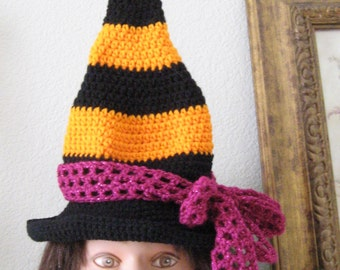 Toddler Child Adult Striped Witch Hat with Bow Wizard Costume Cap Crocheted Handmade Beanie Made to Order Night and Day Crochet Etsyturns13