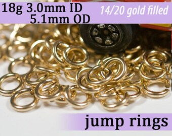 18g 3.0mm ID 5.1mm OD gold filled jump rings -- 18g3.00 goldfill jumprings 14k goldfilled