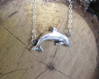 Happy Dolphin Metal Clay necklace