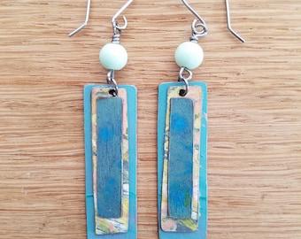 Birchwood, Wood Art, Acrylic Art, Art Jewelry, Gifts for Her, Hypoallergenic Earrings, Boho Earrings, Nickel Free Earrings, Lightweight