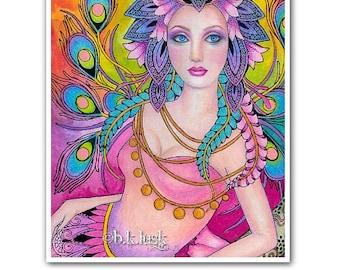 Signed 8 x 10 Print Peacock Daydreams Art Pink Nouveau Goddess Diva Mother Nature B. K . Lusk