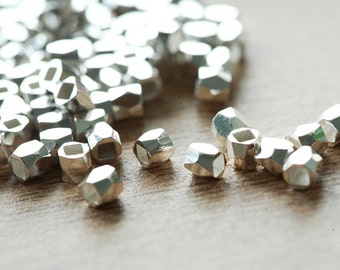 50 pcs of faceted solid metal Silver nugget beads - lovely sparkling Silver , 3mm