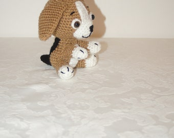 Cute crocheted little beagle puppy soft toy looking for his forever home by Liz