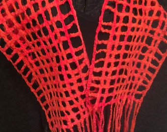 """Pencil Roving """"Woven-Look"""" Large Scarf with Fringe"""