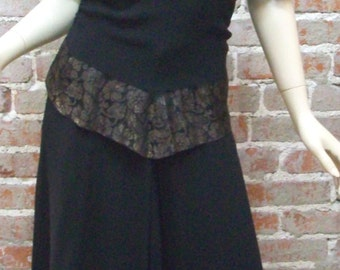 1940s Dress Vintage Crepe Swing with Peplum and Lace Tie to back USO Dress Black Crepe