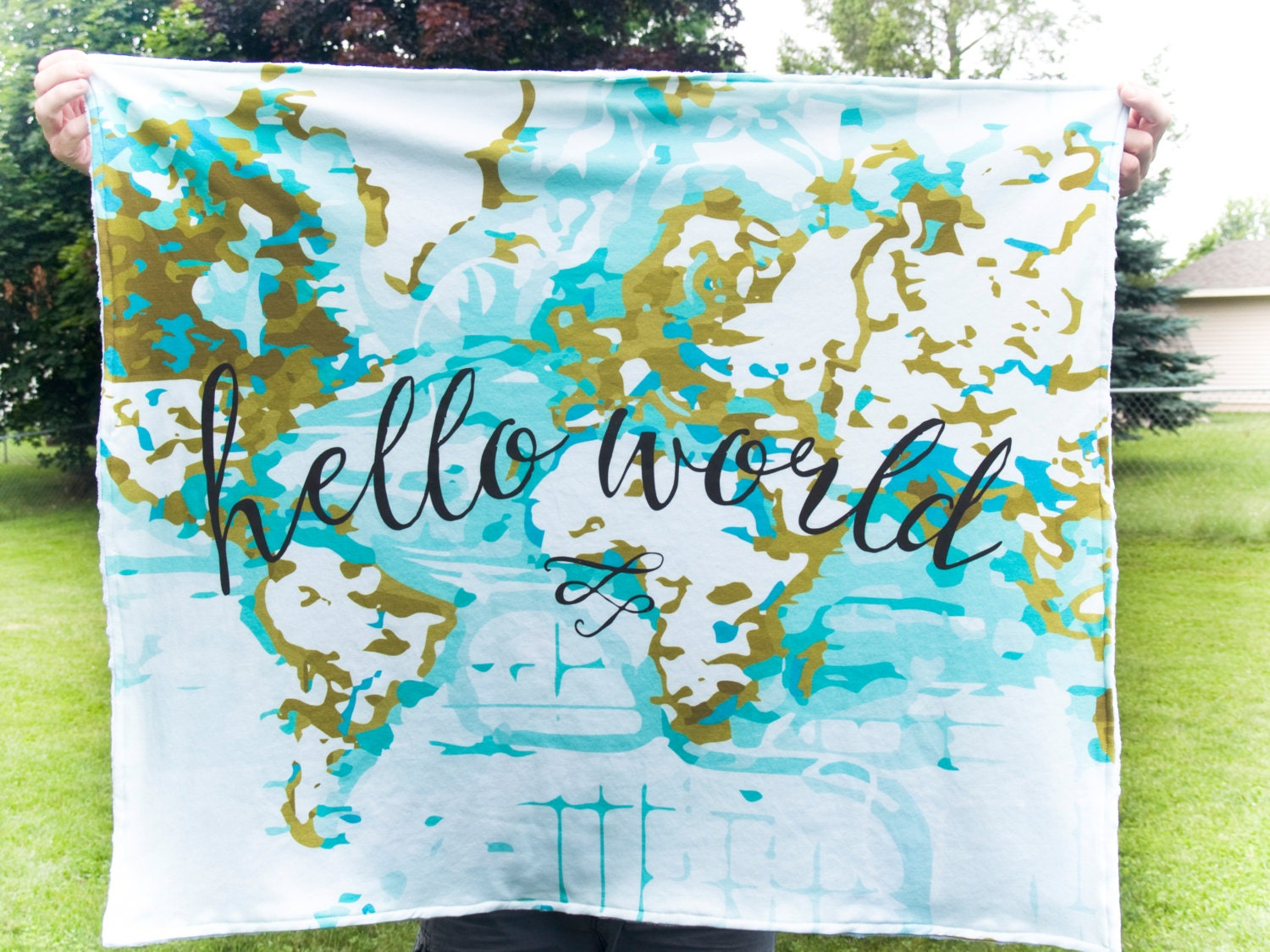 Hello World Baby Blanket Nautical Map Blanket Minky Hello - World map blanket