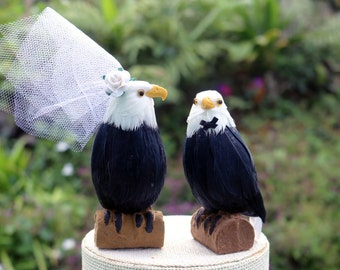 American Bald Eagle Wedding Cake Topper: Bride & Groom Love Bird Cake Topper
