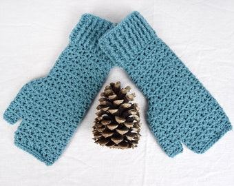 Teal Crochet Handwarmers, Fingerless Mitts (L) - 6 colours available