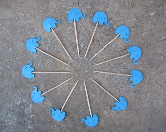 12 Party Picks Cupcake Toppers Bright Embossed Turquoise Elephants, Elephant Party Picks, Noahs Arc Birthday Party