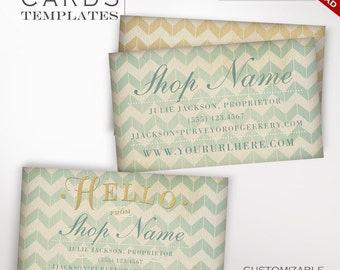 Whimsical Business Cards - Customizable Vintage Gold & Chevron Design Business Card Template -  Vintage Gilded Charming Business Cards