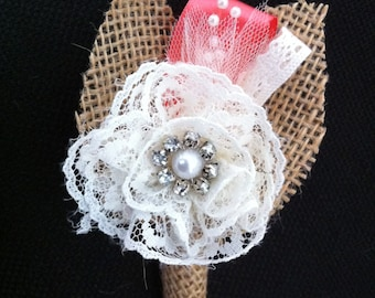 Custom Burlap & Lace Boutonniere/Corsage - Single Off-white Rose with natural burlap coral ribbon
