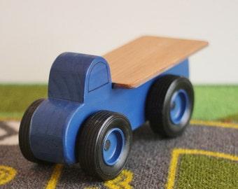 Spielzeug-Blau Pritschenwagen LKW - handgefertigte Holz Spielzeug kleine blaue Pritschenwagen - Geburtstags-Party zugunsten - Partei Thema blau Pritschenwagen - blau Spielzeug