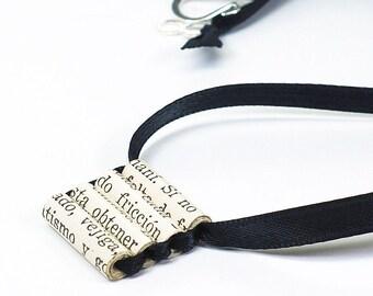Paper Bead Jewelry- Spanish Upcycled Black Ribbon Necklace, Ladder Necklace, Spanish Jewelry, Paper Jewelry, Paper Bead Necklace by Tanith