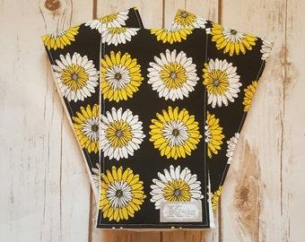Burp Cloths, Flowers, Girl Burp Cloths, Baby Girl, Baby Shower Gift, Flower Burp Cloths, Black and Yellow, SET OF 3,
