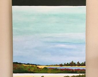 Original art - acrylic on canvas - imaginary landscape painting