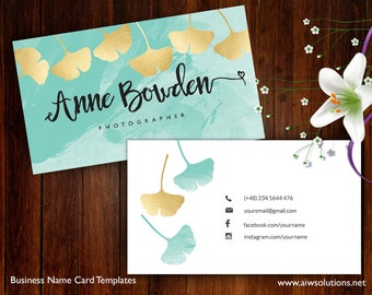 Ginkgo Leaves name card, Name Card Template, Photography name card, calling cards, DIY business cards, Ginkgo Leaves  gold
