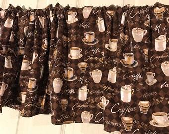 Java coffee brown kitchen window valance