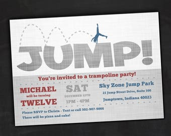 Jump birthday invitation, trampoline birthday invitations, bounce house birthday, bouncy castle party, trampoline party, bouncy house